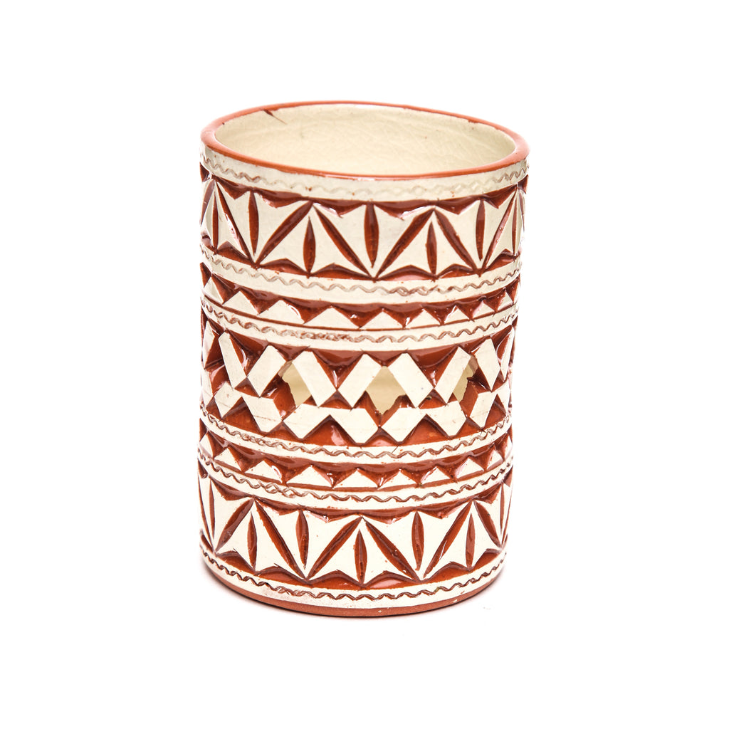 Moroccan White Ceramic Tealight  Cup
