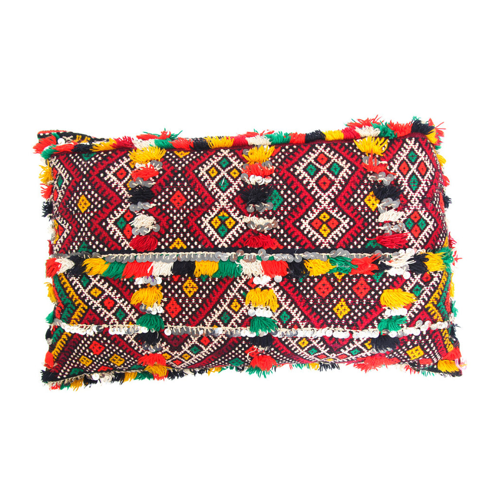 Handmade Moroccan Kilim Style Pillow with Sequins