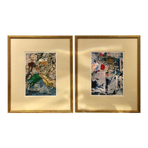 Abstract Signed Watercolor Paintings - A Pair