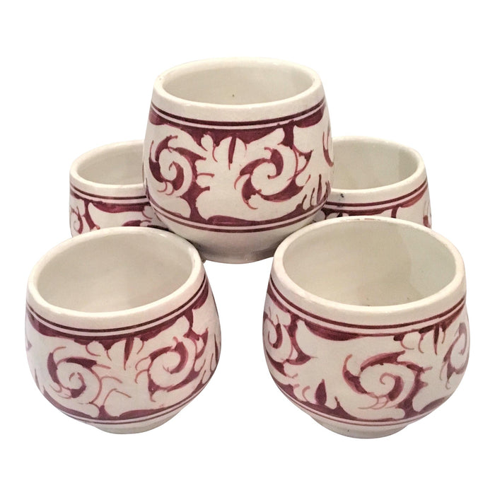 Burgundy Ceramic Hand Painted Cups - Set of 5