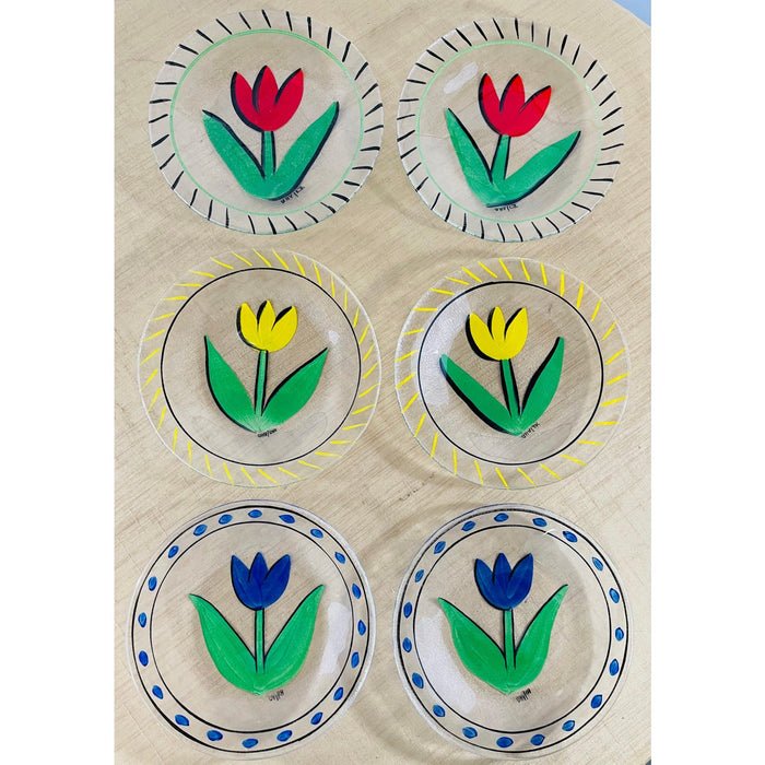 Boho Chic Hand Painted Tulip Design Bowl and Matching Plates, a Set 7