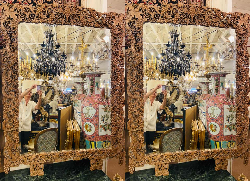 1920s Burmese Monumental Wall or Pier Mirrors, a Pair