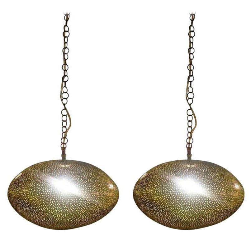 Oval Shaped Modern Gold Brass Pendant Chandeliers, Pair