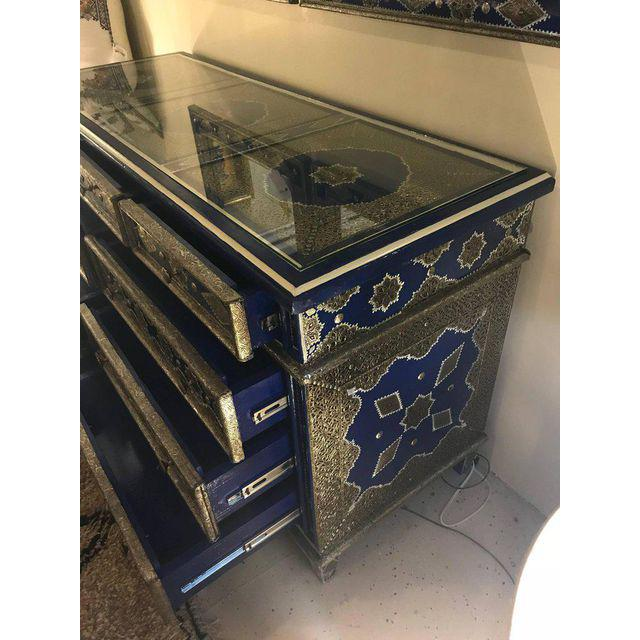 Handmade Moroccan Blue Sideboard or Chest , Silver Metal and Copper Inlaid