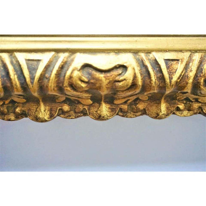 Hollywood Regency Wall or Vanity Mirror Carved Gilded Gold