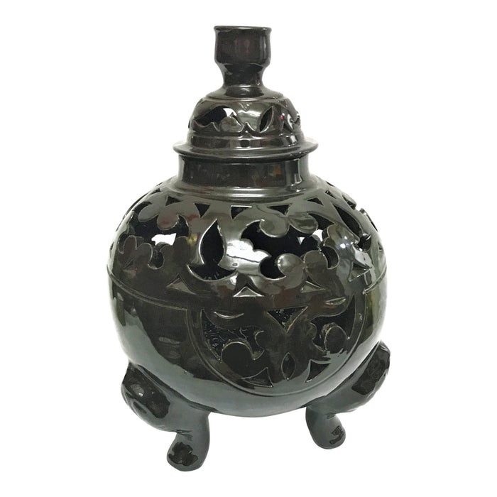 Oriental Black Ceramic Lidded Urn or Vase