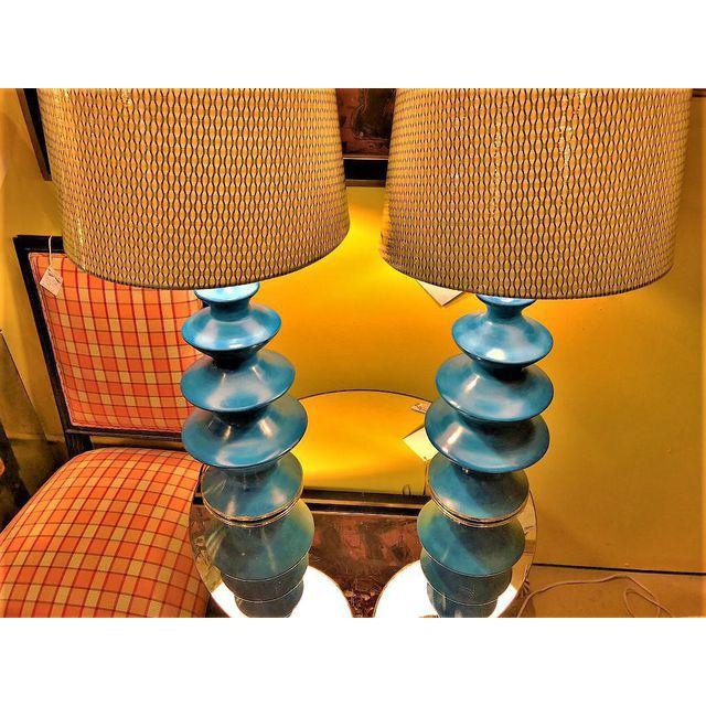 Moroccan Blue Ceramic Table Lamps - A Pair