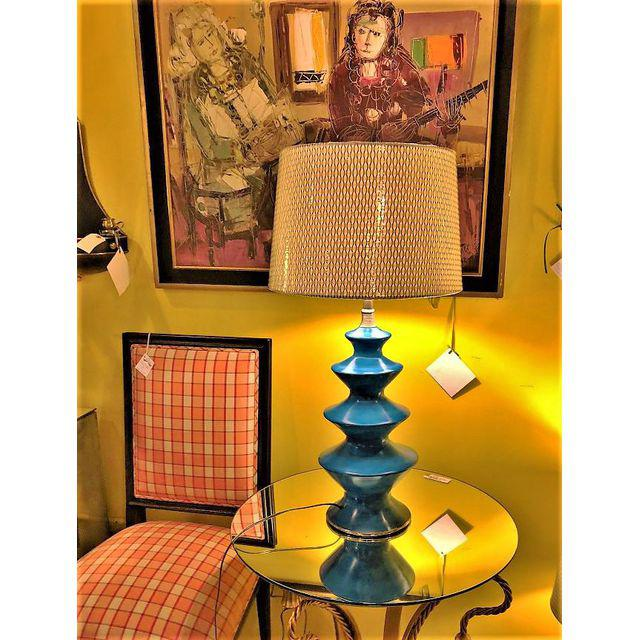 ... Moroccan Blue Ceramic Table Lamps   A Pair