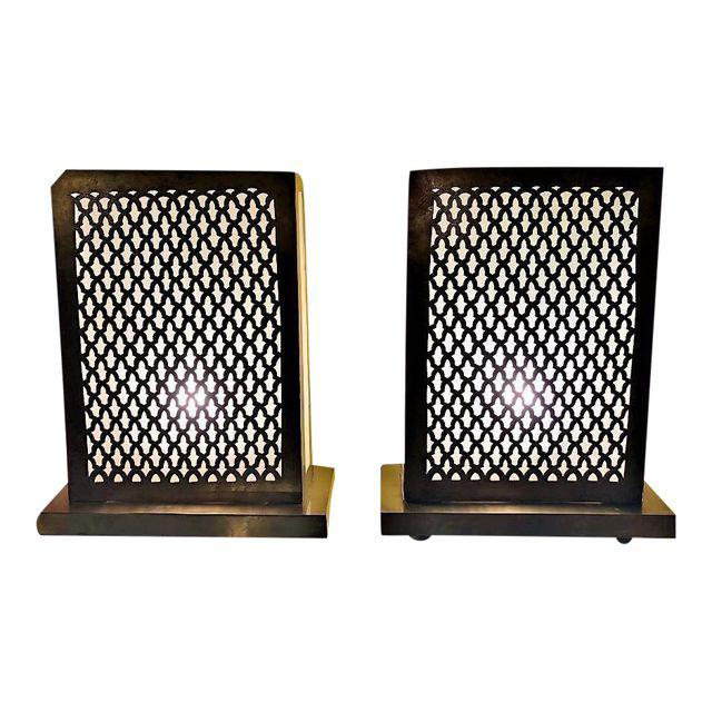 Moroccan Rectangular Gold Tone Table Lamps - A Pair