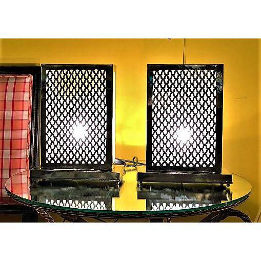 Rectangular  Modern Silver Metal Table Lamps - A Pair