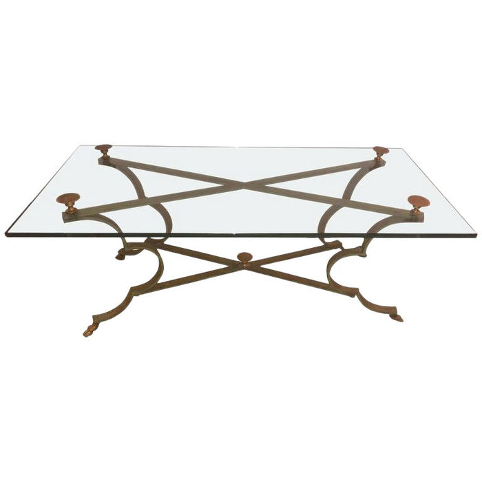 Neoclassical Style Gilt Brass and Iron Low Coffee Table
