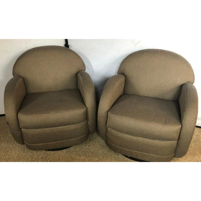 Pace by Directional Leon Rosen Style Mid-Century Modern Swivel Chairs - a Pair