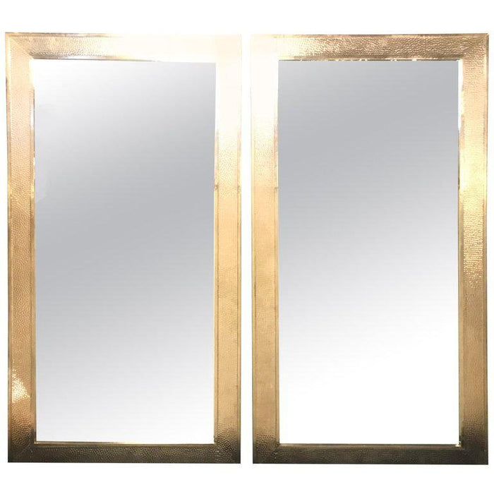 Pair of Mid-Century Modern Style White Brass Wall/ Floor or Console Mirrors