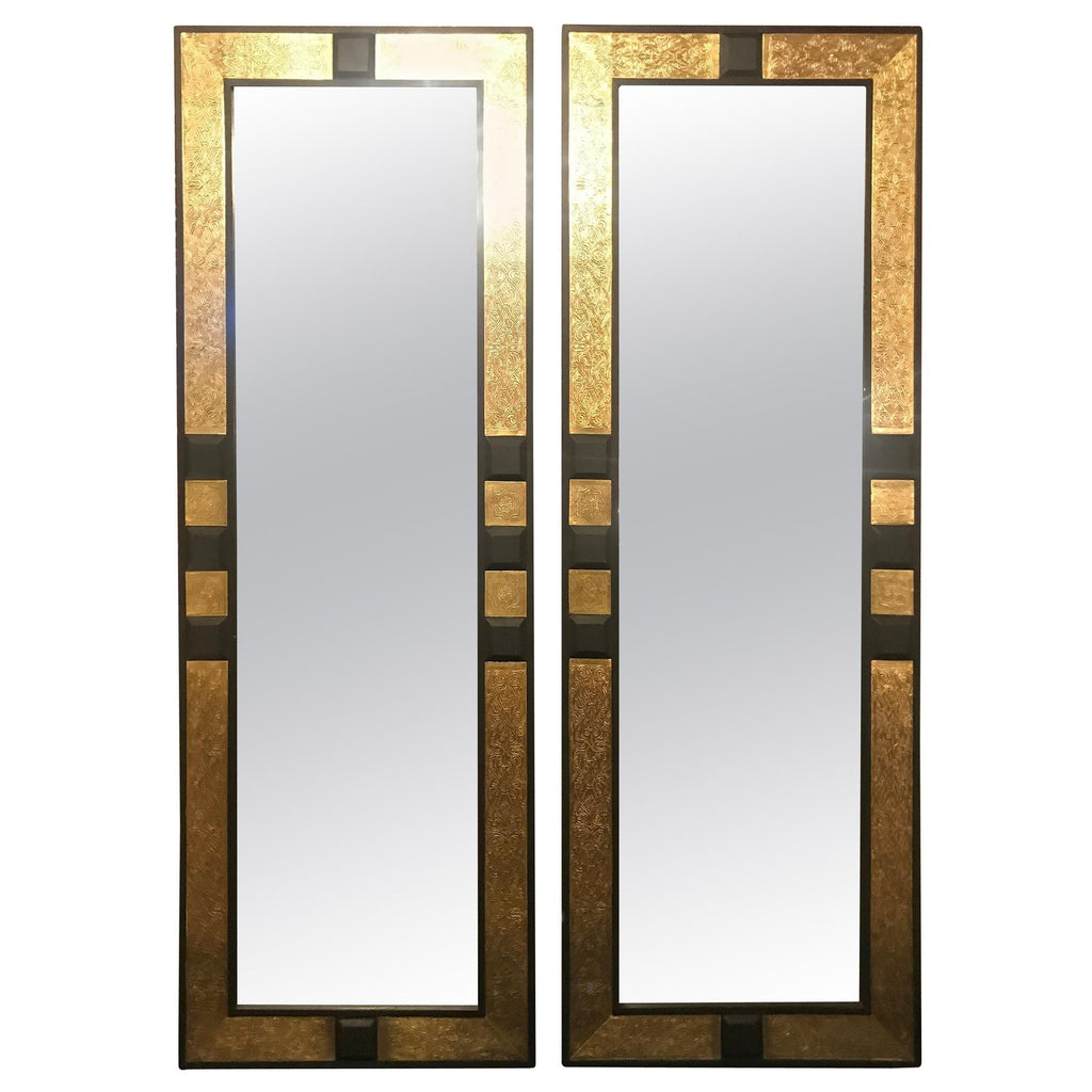 Brass and Ebony Wood Framed Pier or Console Mirrors