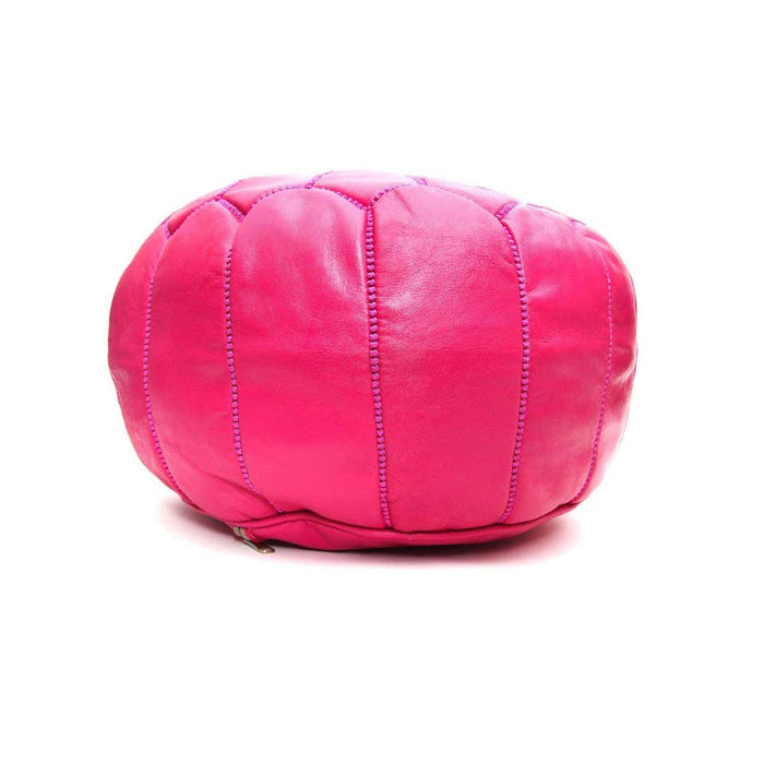 Moroccan Handmade Hot Pink Leather Pouf or Ottoman, a Pair