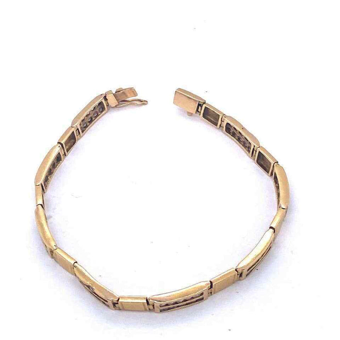 18 Karat Yellow Gold Fancy Link Bracelet with Diamonds