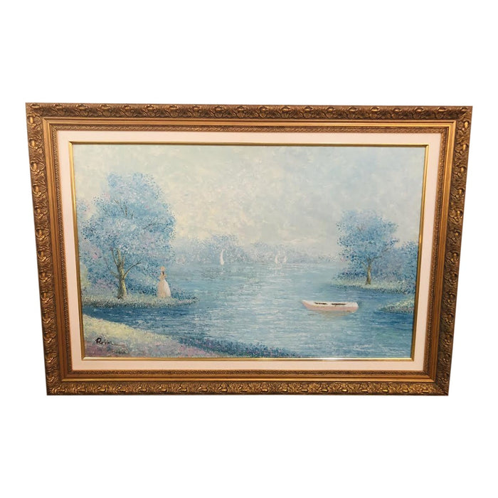 Signed by Artist Impressionistic Pastel Gilt Framed Large Painting