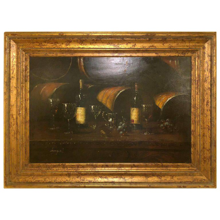 Still Life of Wine With Glasses Oil Painting on Canvas Signed Luzanquis