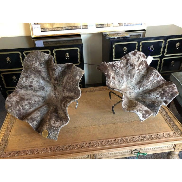 Willy Guhl Vintage Shell Form Planters on Stands-A Pair