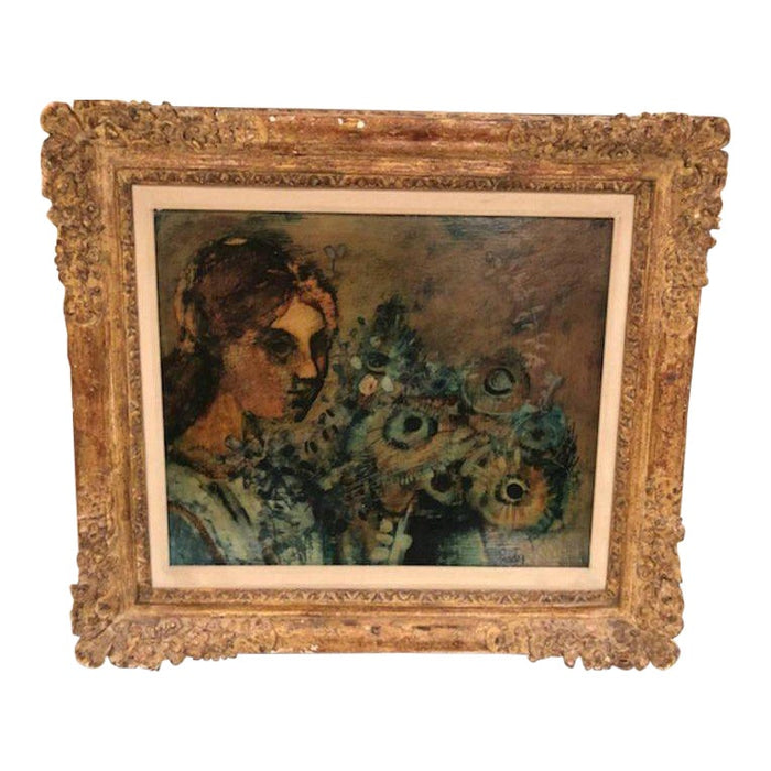 Donald Roy Purdy Oil Painting Woman and Flowers in Custom Frame