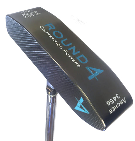 Round 4 archer center shafted putter left handed in custom tar heel blue - sole view