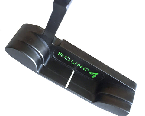 round 4 roadster 1018 carbon steel putter in custom green - top view
