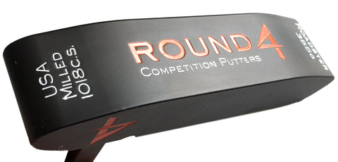round 4 roadster 1018 carbon steel putter in custom orange
