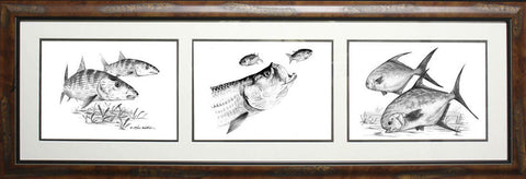 Framed Pencil 3-in-1 Coastal Slam: Bonefish, Tarpon, Permit