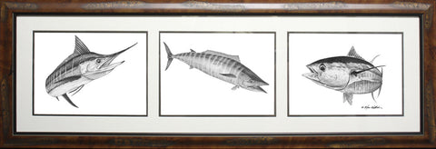 Framed Pencil 3-in-1 Offshore Slam: Marlin, Wahoo, Yellowfin Tuna