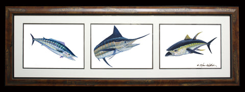 Framed Acrylic 3-in-1 Offshore Slam - Wahoo, Marlin, Tuna