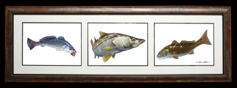 Framed Acrylic 3-in-1 Coastal Slam - Spotted Sea Trout, Snook, Redfish