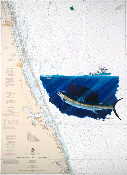 SALE - Jupiter Sailfish Chart Art