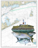 Chart Art - Montauk Lighthouse Slam