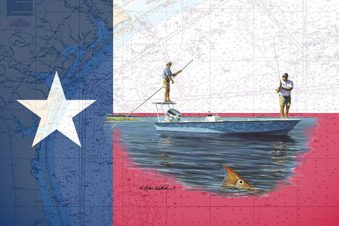 Chart Art - Texas Flag Skiff and Redfish