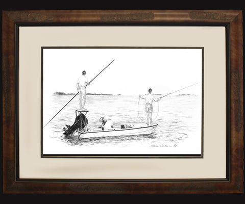 Pencil Art - Flats Boat-Skiff