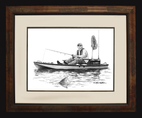 Pencil Art - Kayak and Fisherman