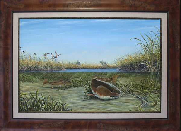 Fine Art - Up the Creek Redfish-Redhead Ducks