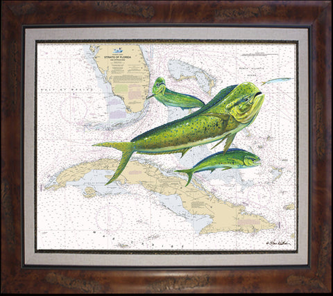 Straits of Florida Dolphin Chart Art