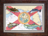 Florida Flag Chart Art - Inshore Fish