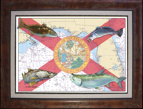 Chart Art - Florida Flag Inshore Fish