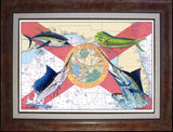 Chart Art - Florida Flag Offshore Fish