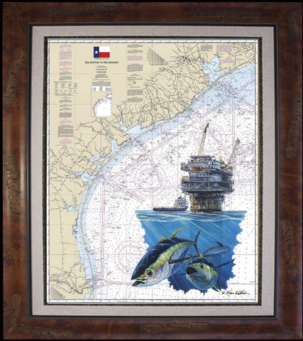 Texas Coast Oil Rig and Tuna Chart Art