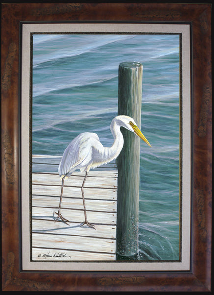 American Egret on Dock - Fine Art