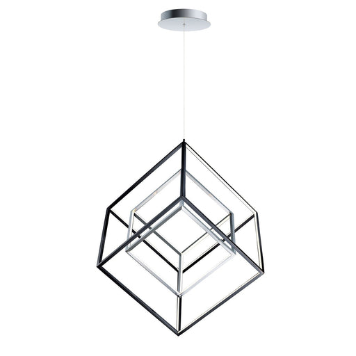 4 Square Large Double Pendant - Polished Chrome & Black
