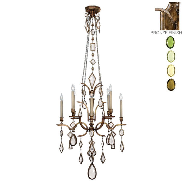 Encased Gems 8 Light Chandelier - Patina Bronze