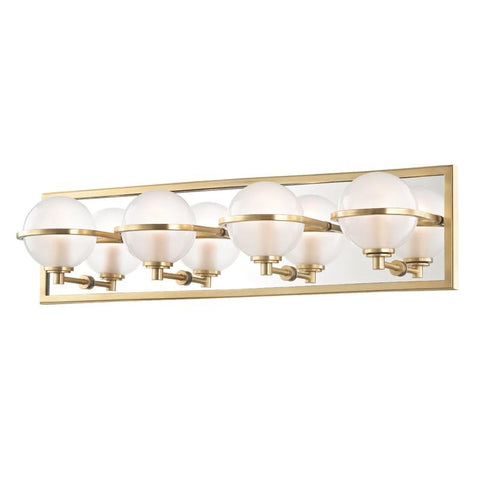 AXIOM 4 LIGHT BATHROOM VANITY Aged Brass