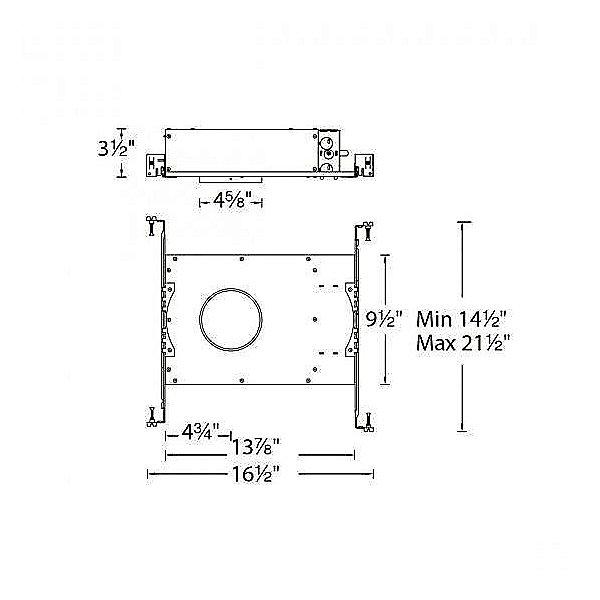 Aether 3.5 inch Square Adjustable Shallow Housing Trim - Diagram