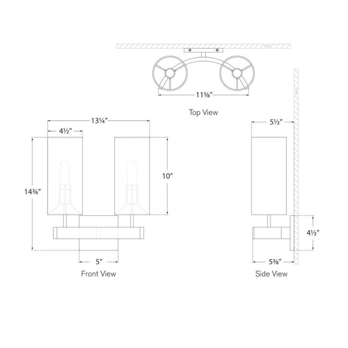 Aimee Double Sconce - Diagram