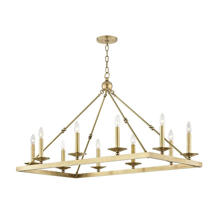 Allendale Rectangular Chandelier - Aged Brass Finish