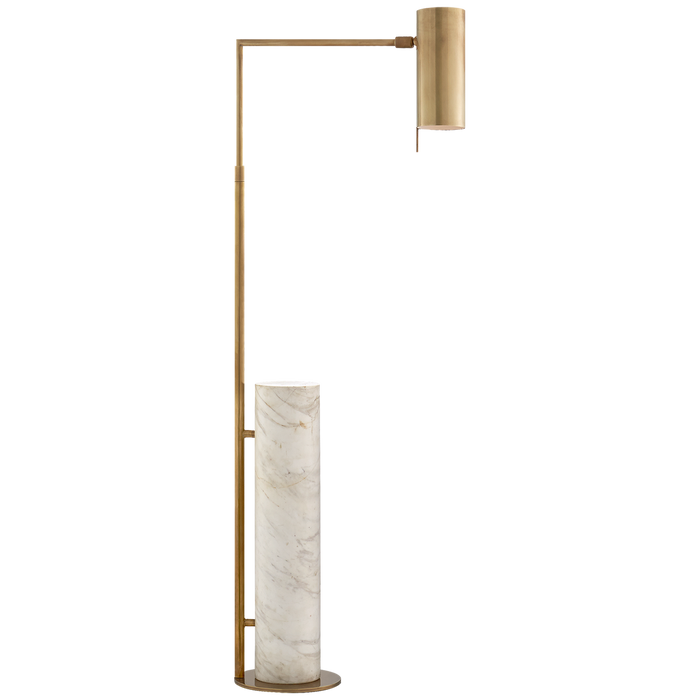 Alma Floor Lamp - Antique-Rubbed Brass Finish with White Marble